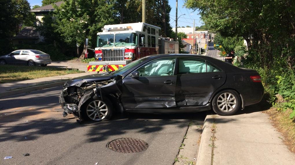 Two-vehicle crash leaves car
