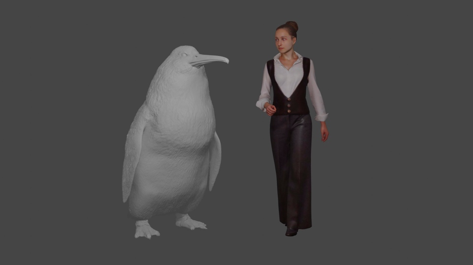 This illustration provided by the Canterbury Museum, shows the approximate height of a giant penguin, a 'crossvallia waiparensis' next to a human being. (Canterbury Museum via AP)