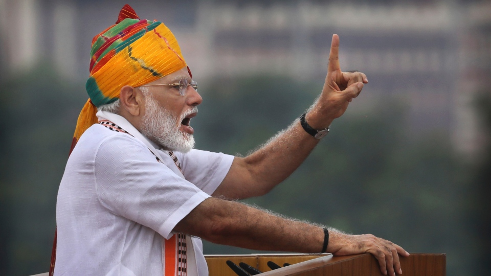 Indian Prime Minister Narendra Modi addresses to the nation on the country's Independence Day from the ramparts of the historical Red Fort in New Delhi, India, Thursday, Aug. 15, 2019. (AP Photo/Manish Swarup)