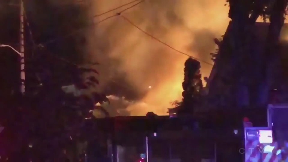 A vehicle hit a house and a gas line, causing a large explosion in London, Ont.