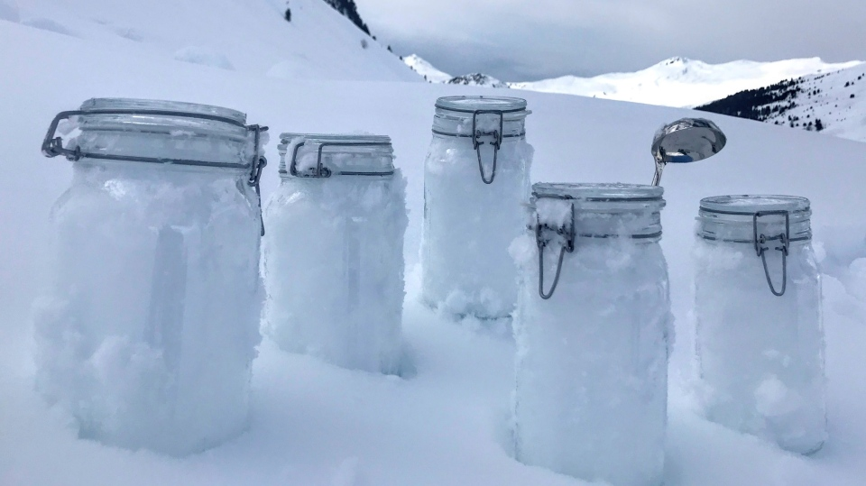 This undated photo provided by the 'Helmholtz centre for polar and marine research the Alfred Wegener institute' shows snow samples from Tschuggen, Switzerland, locked and ready for transport to Davos. Scientists of the institute say they proved plastic in the snow of the Alps and the Arctic. (Juerg Trachsel/WSL-Institut für Schnee- und Lawinenforschung SLF via AP)