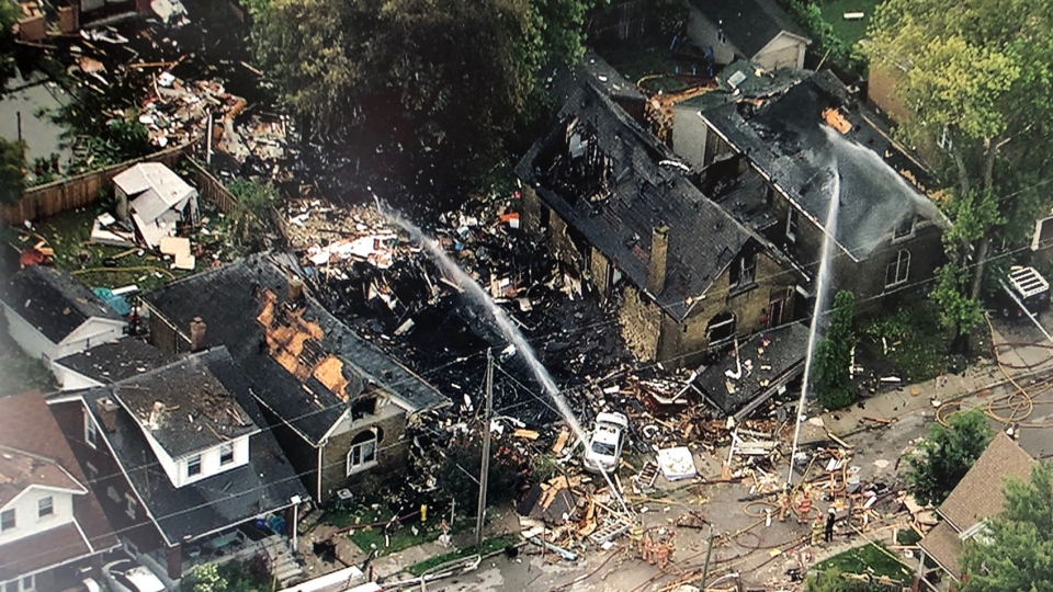 Aftermath of a house explosion in London, Ont., Thursday, Aug. 15, 2019. (CTV News)