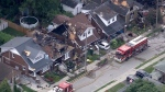 Aerial view of London house explosion aftermath