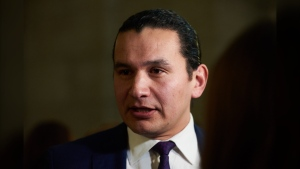 Manitoba NDP Leader Wab Kinew speaks to media following the delivery of Manitoba's 2019 budget, at the Legislative Building in Winnipeg, Thursday, March 7, 2019. (The Canadian Press/David Lipnowski)