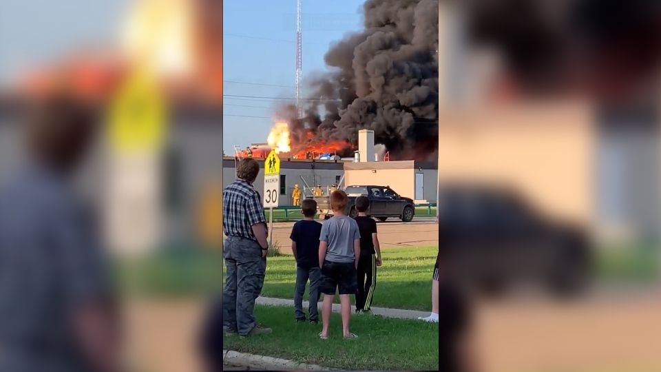 Fire broke out at Central High Sedgewick Public School on Aug. 14, 2019. (Glenda Lien/CTV News Edmonton)