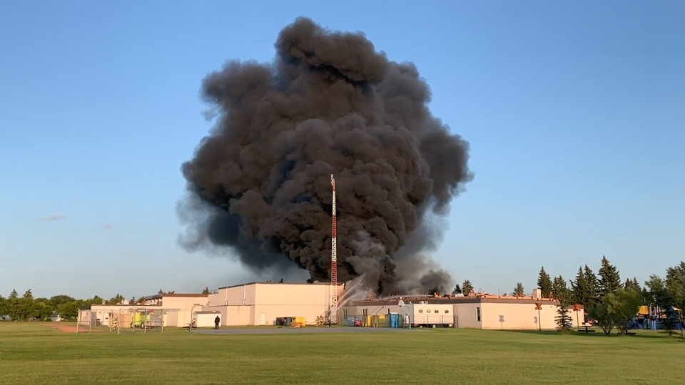Fire at the school in Sedgewick on Aug. 14, 2019.