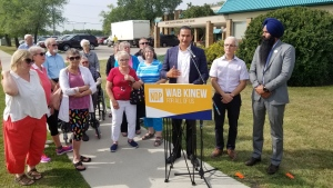NDP Leader Wab Kinew is pictured at an announcement Aug. 15, 2019. (Daniel Timmerman/CTV News).