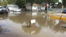 Flooding resulting from a water leak near Ottawa Street and Victoria Avenue. (Nelson Bird/CTV Regina)