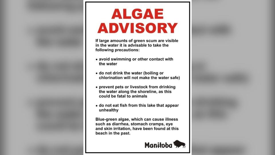 Algae advisory sign (Source: Manitoba Sustainable Development.)