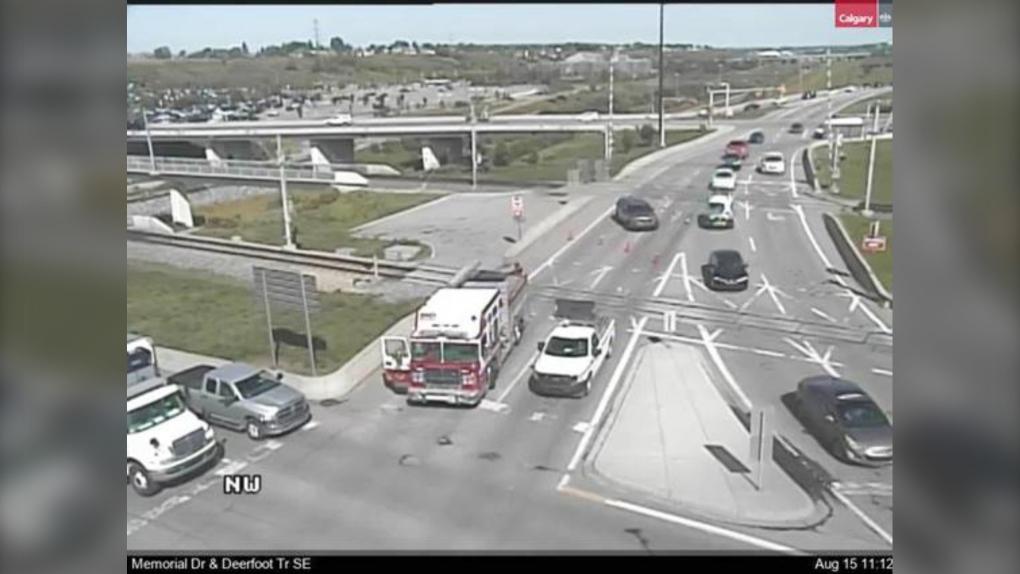Deerfoot Trail traffic cam crash