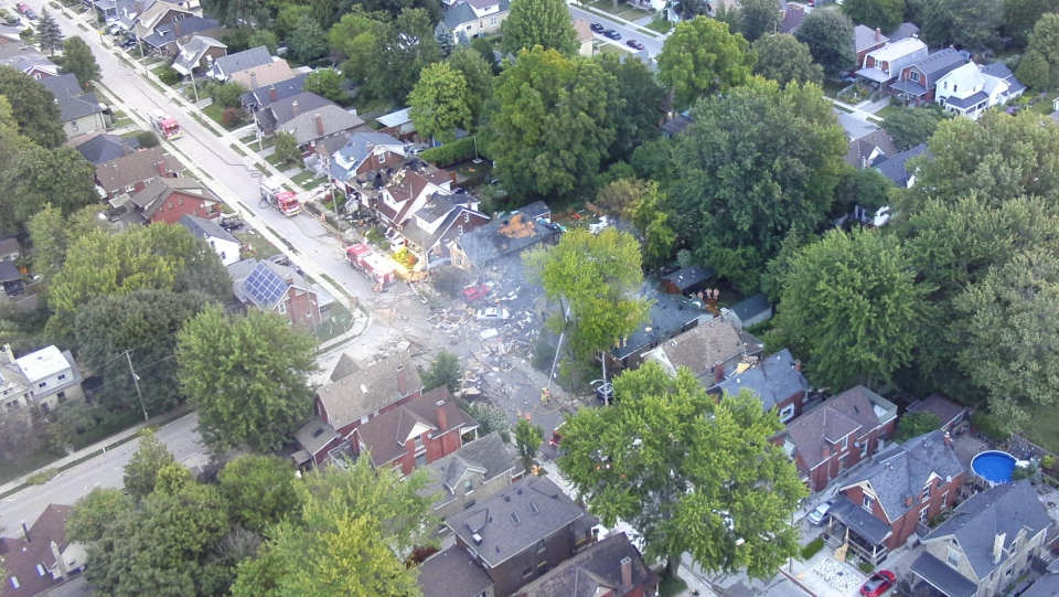 Aerial photos after an explosion on Woodman Avenue in London, Ont. are seen on Thursday, Aug. 15, 2019. (Source: London Police Service)