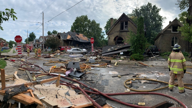 Damage on Woodman Avenue is seen a day after an explosion rocked the area in London, Ont., Thursday, Aug. 15, 2019. (@PCElliottLPS / Twitter)