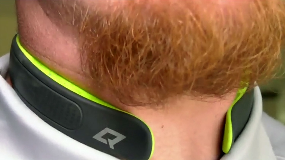 Adam Bighill is seen wearing a Q-Collar device. (CTV News Toronto)