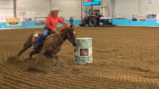 A rider rounds a barrel at the 2019 Saskatchewan Barrel Racing Association Finals in Moose Jaw. (Marc Smith/CTV Regina)