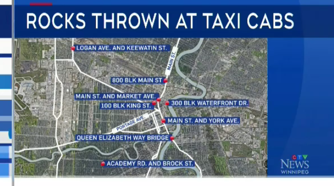 A map displays where the rock throwing incidents have occurred across the city.