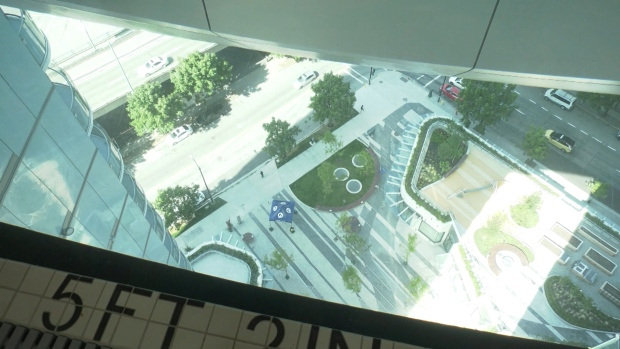 Anyone afraid of heights will likely steer clear of a lofty new glass-bottom pool in downtown Vancouver. (CTV)