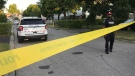 Police tape is shown at the scene of a fatal stabbing investigation on Josephine Court in Brampton Friday morning. (Craig Wadman)