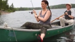 Heidi Korte and her dad fishing in Pishabo Lake in Temagami (Supplied)