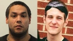 Robby Mitchell Polchies (left) has been charged with first-degree murder in the death of Corey Sisson (right). (Fredericton Police Force)