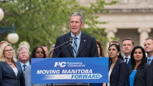 Progressive Conservative party leader Brian Pallister announces that the provincial election is underway after a visit to the Lieutenant Governor on Monday, August 12, 2019 in Winnipeg. (Source: The Canadan Press/David Lipnowski)