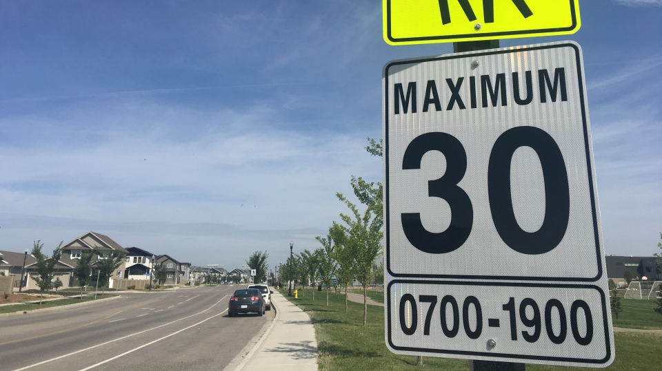 A 30 km/h speed limit sign posted at the start of a school zone in Regina. (Cole Davenport/CTV Regina)
