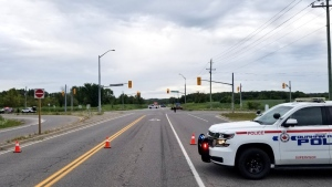 Police section off a road in Uxbridge following a serious two-vehicle collison on Thurs., Aug. 15, 2019  (Durham Regional Police)