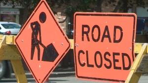 (CTV file image of a road closure sign.)