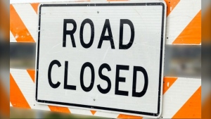 (CTV file image of a road closure sign.)