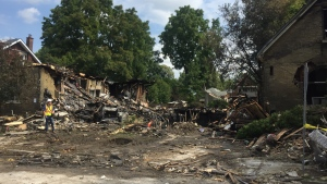 The aftermath of an explosion on Woodman Avenue in London, Ont. is seen on Friday, Aug. 16, 2019. (Sacha Long / CTV London)