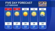 Lethbridge forecast for August 16, 2019