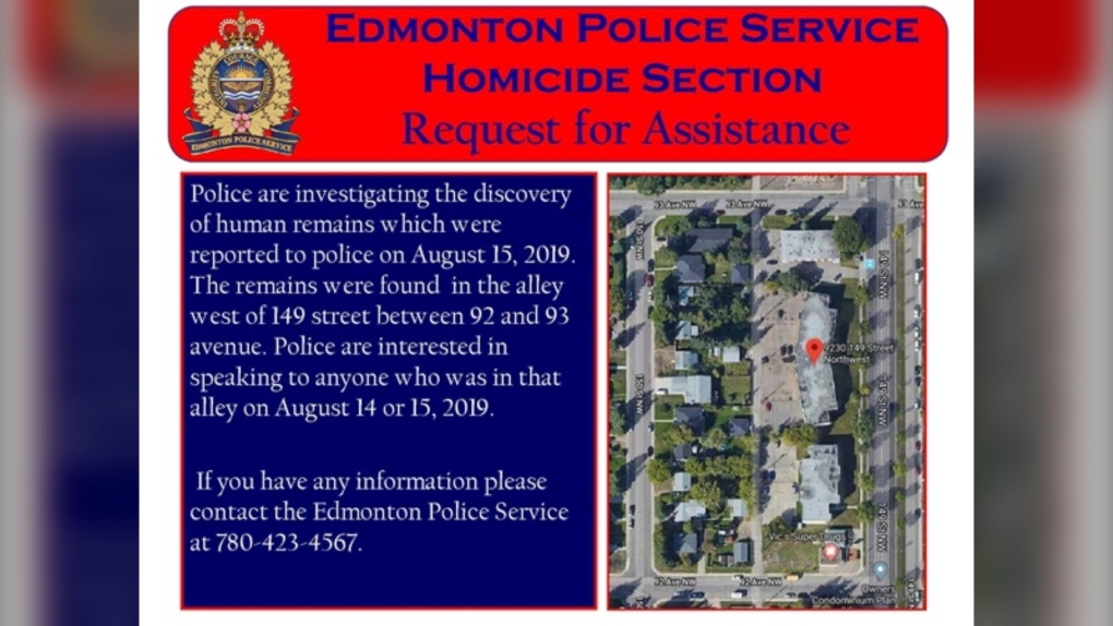 Human remains found in west Edmonton alley
