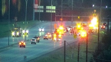 A man was sent to hospital early Saturday morning after a serious two-vehicle crash on Deerfoot Trail. (Twitter/YYC Transportation)