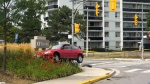 A vehicle is seen near Fairview Mall Drive and Godstone Road on Aug. 17, 2019. (Tom Podolec/CTV News Toronto)