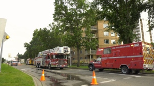 An entire apartment building was evacuated Friday afternoon after a fire was reported on one unit's balcony.