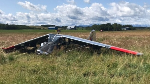 RCMP say two men were hurt when their plane crashed shortly after take-off at about noon on Saturday. (Supplied)
