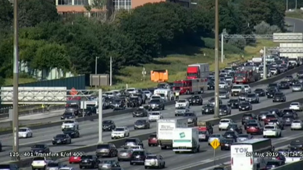 Traffic is backed up along Highway 401 near Keele Street after a collision on Aug. 17, 2019.