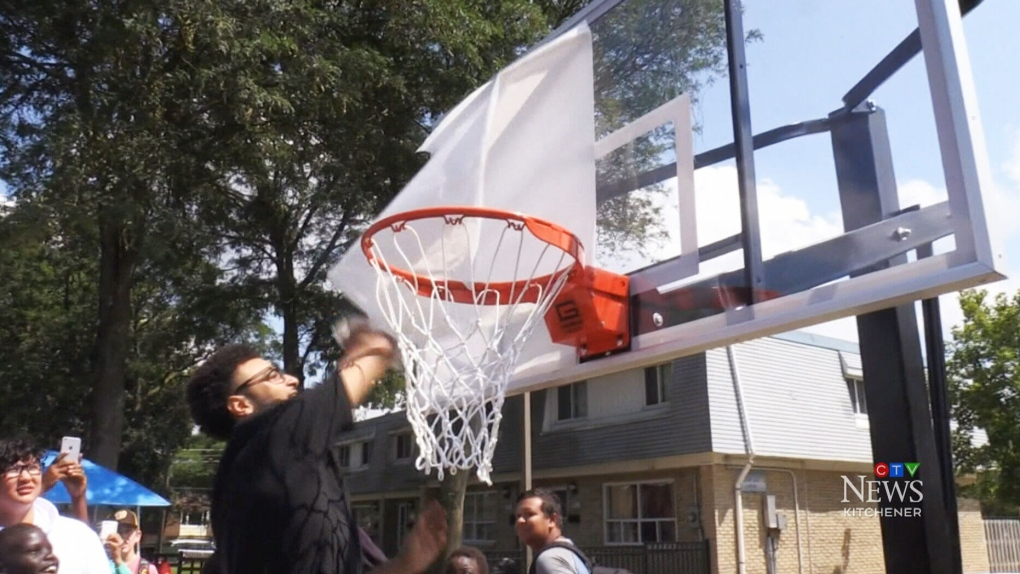 NBA star Jamal Murray unveils new basketball court, gives out school supplies in K-W