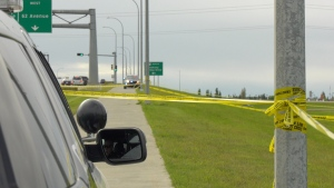 Officers closed off an area of green space Saturday afternoon, near Callingwood Drive east of Anthony Henday Drive.