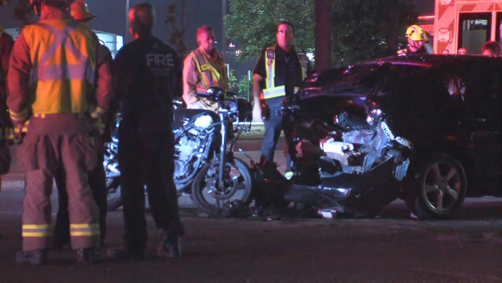 Two people taken to hospital after motorcycle, car collide in Mississauga