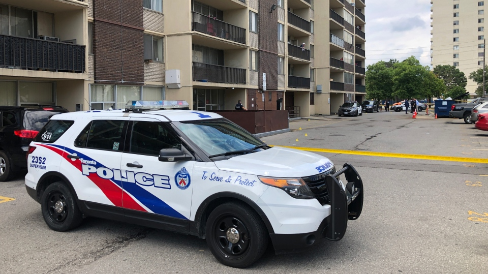 Police investigate a shooting in the area of Dixon Road and Kipling Avenue Sunday August 18, 2019. (Tom Podolec /CTV News Toronto)
