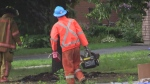 Repair workers on scene in Tillsonburg following lightning strike that severed gas line.
