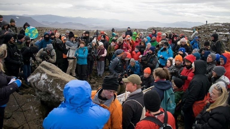 A monument was unveiled at the site of Okjokull, Iceland's first glacier lost to climate change. (AFP)