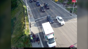 One person was treated by paramedics after two cyclists collided at Centre Street and Samis Road N.E. (City of Calgary)