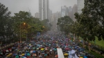 Protesters gather in Hong Kong Sunday, Aug. 18, 2019. Thousands of people streamed into a park in central Hong Kong for what organizers hope will be a peaceful demonstration for democracy in the semi-autonomous Chinese territory. (AP / Vincent Thian)