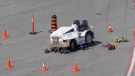 The scene of an industrial accident at Toronto Pearson International Airport is seen. (CTV News Toronto / Tom Podolec)