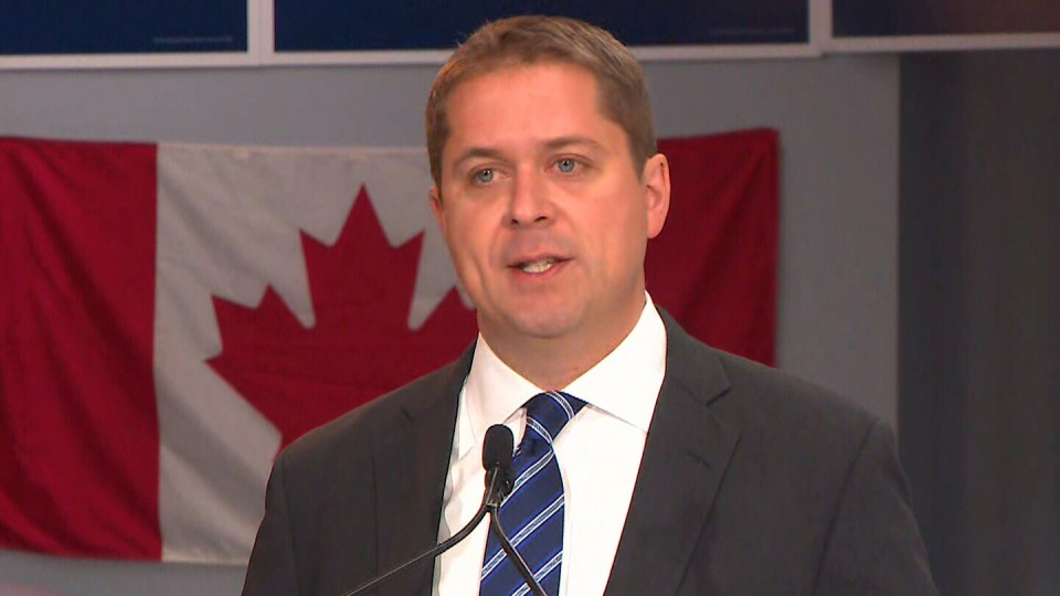 Conservative Leader Andrew Scheer speaks to the media on Monday, Aug. 19, 2019.