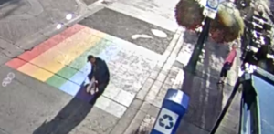 Calgary police are attempting to identify two suspects after pride crosswalks were defaced on separate occasions. (Source: The City of Calgary Newsroom)