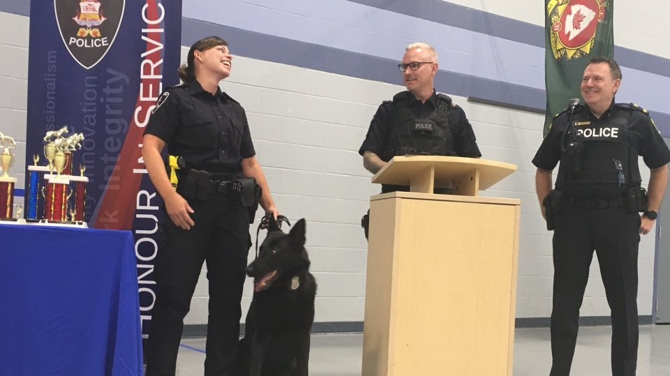 Sgt. Patti Pastorius and police service dog Rony served the community for nine years together in Windsor, Ont., on Monday, Aug. 19, 2019. (Chris Campbell / CTV Windsor)