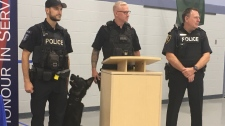 New police canine Rolex is set to hit the road with his handler Const. Marc Tremblay in Windsor, Ont., on Monday. Aug. 19, 2019. (Chris Campbell / CTV Windsor)