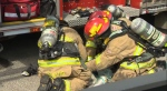 Firefighters attend to an injured cat following Monday morning's fire in Deer Run